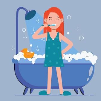 Jonge vrouw tandenpoetsen in een badkamer. mondhygiëne, zorg voor tandheelkundige gezondheid.