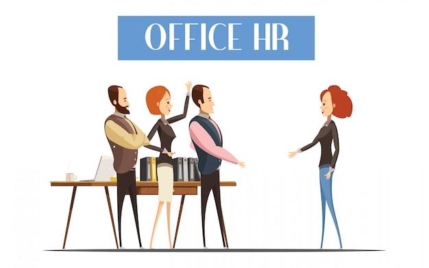 Jonge vrouw tijdens communicatie met personeel van office hr-ontwerp