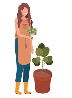 Jonge vrouw tuinman avatar karakter