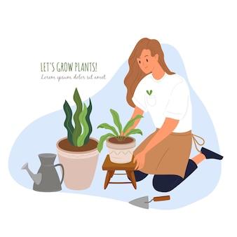 Jonge vrouw tuinman planten kruiden stripfiguur. vergroening, landschapsarchitectuur. tuin, erf, groene ruimte. teler en bloempotten geïsoleerd op een witte achtergrond.