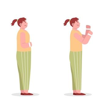 Jonge vrouw verandert van zwaarlijvigheid in dun