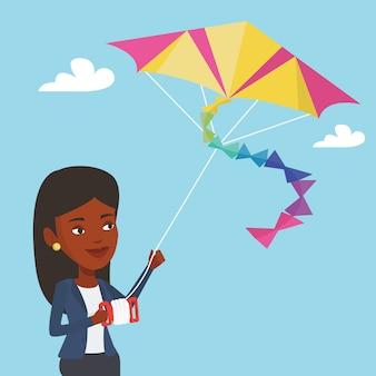 Jonge vrouw vliegende vlieger illustratie.