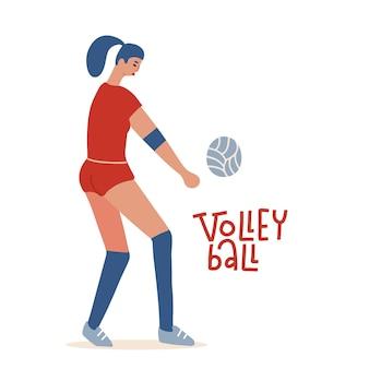 Jonge vrouw volleyballen professionele wolley speler concept cartoon platte vector teken isol...