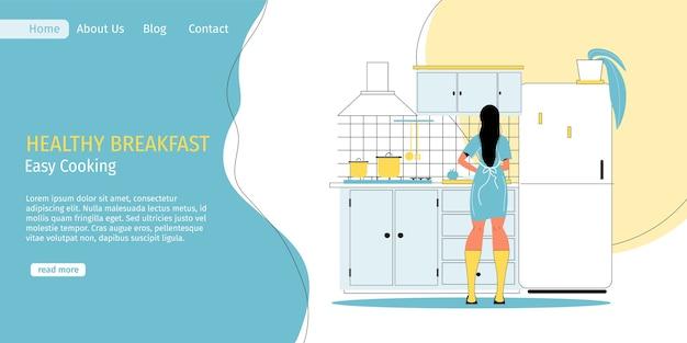 Jonge vrouw voorbereiding van heerlijk lekker vegetarisch gezond ontbijt thuis keuken. makkelijk koken. juiste voeding, dieet, veganistische maaltijd. dagelijks leven. gezonde gewoonten. landingspagina sjabloon