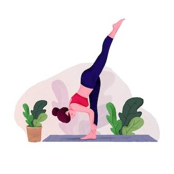 Jonge vrouw vrouw doet yoga voor yoga day celebration