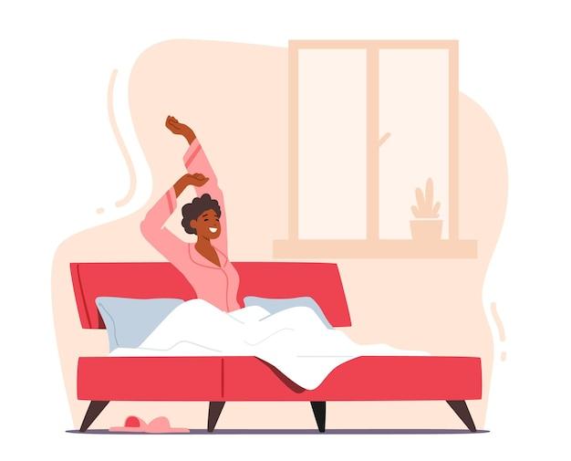 Jonge vrouw wakker 's ochtends in goed humeur