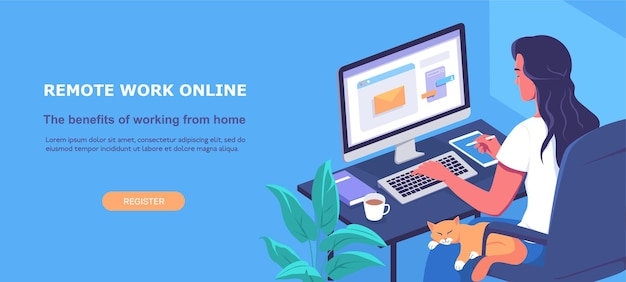 Jonge vrouw werkt op afstand online thuis blauwe kleur websjabloon vectorillustratie