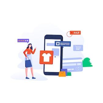 Jonge vrouw winkel online met behulp van smartphone illustratie in vlakke stijl