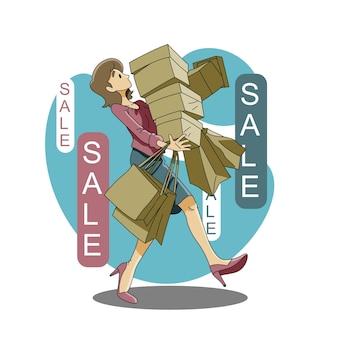 Jonge vrouw winkelen op tweede kerstdag of zwarte vrijdag