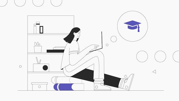 Jonge vrouw zit en studeert online op een laptop