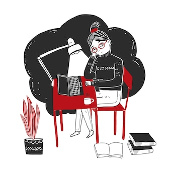 Jonge vrouw zitten en werken met een laptop