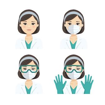 Jonge vrouwelijke arts die het ademhalingsmasker, de bril en de handschoenen n95 draagt, tegen infectieziekten.