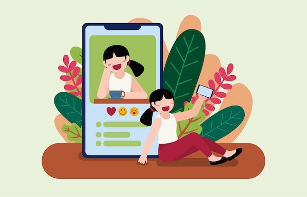 Jonge vrouwelijke blogger gebruikt mobiele telefoon om ov-videogesprekken te voeren