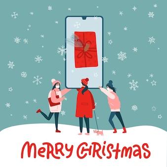 Jonge vrouwelijke mensen maken online winkelen met behulp van smartphone. grote extra grote mobiele telefoon met heden op scherm. vrolijke kerstmisillustratie