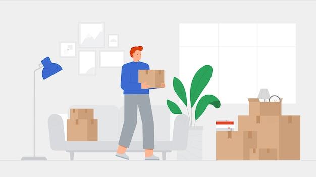Jonge vrouwelijke personage houdt een kartonnen doos in interieur. concept verhuizen naar een nieuw huis, verhuizing.