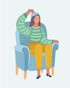 Jonge vrouwelijke zittend in stoel met warmwaterkruik op haar hoofd. huilende vrouw behandelt haar hoofdpijn of migraine. hoofd pijn.
