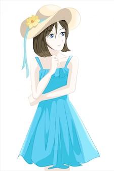 Jonge vrouwen anime-stijl karakters