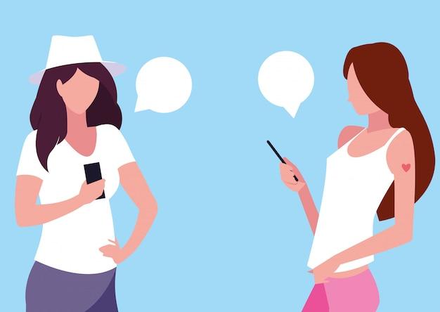 Jonge vrouwen avatar met behulp van smartphones apparaten