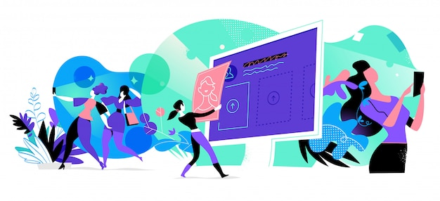 Jonge vrouwen die interactie hebben met digitale apparaten