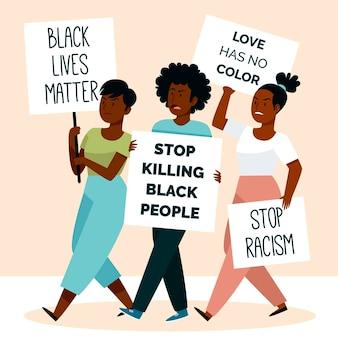 Jonge vrouwen die protesteren tegen racisme
