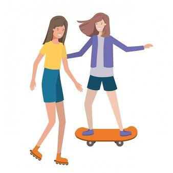 Jonge vrouwen die sportenavatar karakter uitoefenen