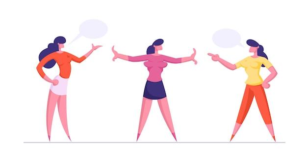 Jonge vrouwen die tegen elkaar schreeuwen, meisjes staan tussen hen in en voorkomen strijd