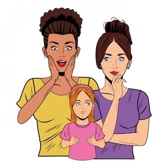 Jonge vrouwen en een klein meisje