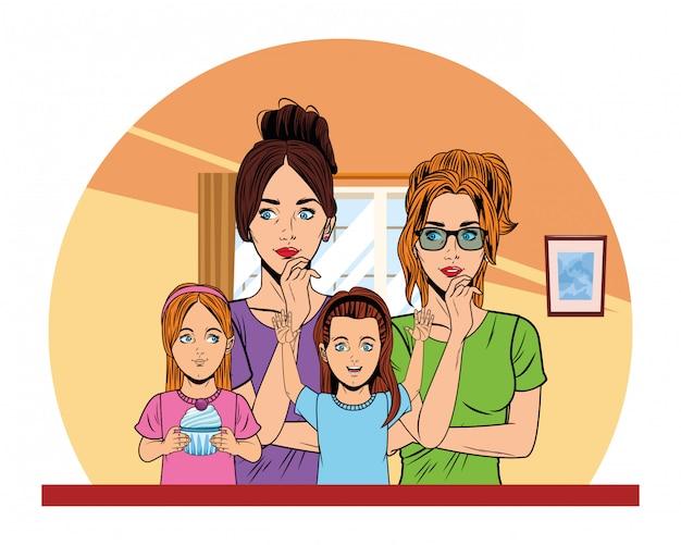Jonge vrouwen en kleine meisjes pop-art