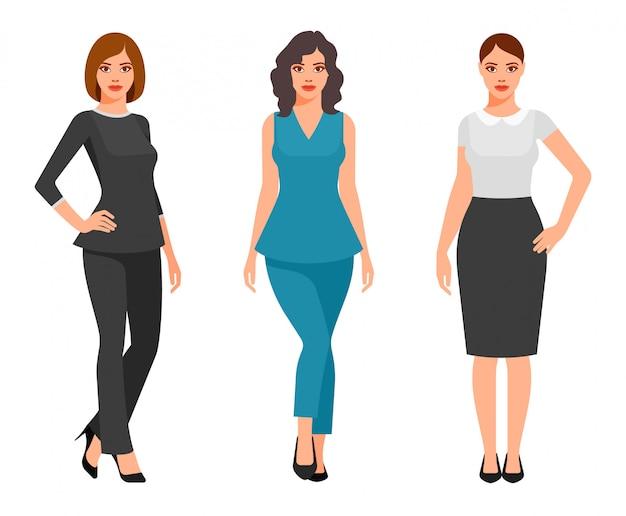 Jonge vrouwen in elegante kantoorkleding