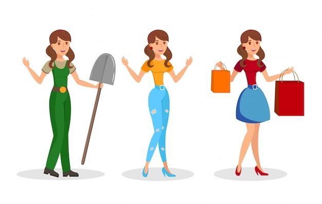 Jonge vrouwen, meisjes platte vector tekens instellen