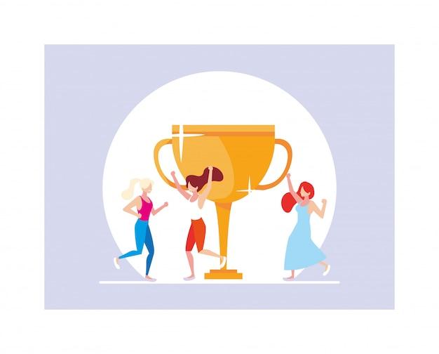 Jonge vrouwen met gouden trofee