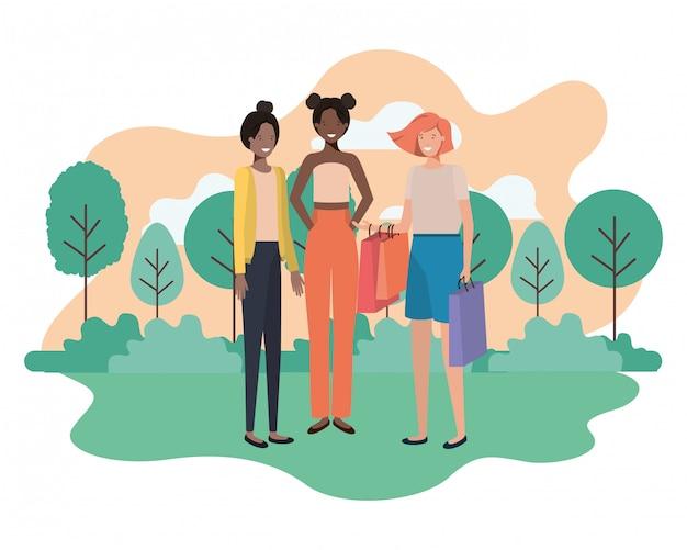 Jonge vrouwen met landschapsavatar karakter