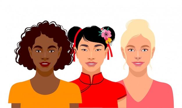 Jonge vrouwen met verschillende huidskleuren