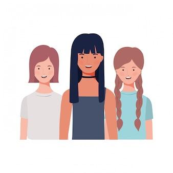 Jonge vrouwen op wit