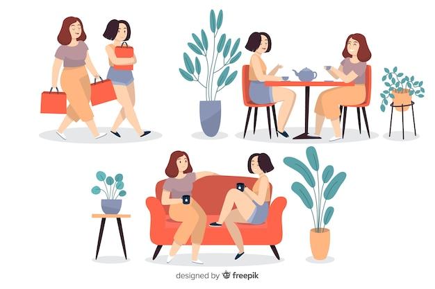 Jonge vrouwen samen tijd doorbrengen
