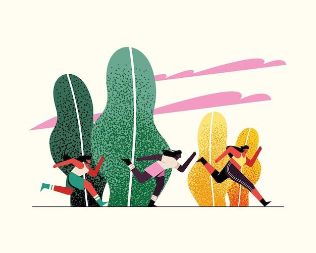 Jonge vrouwenatleten die in de illustratie van parkkarakters lopen