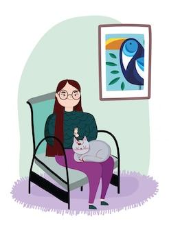 Jonge vrouwenzitting als voorzitter met kattenframe beeld