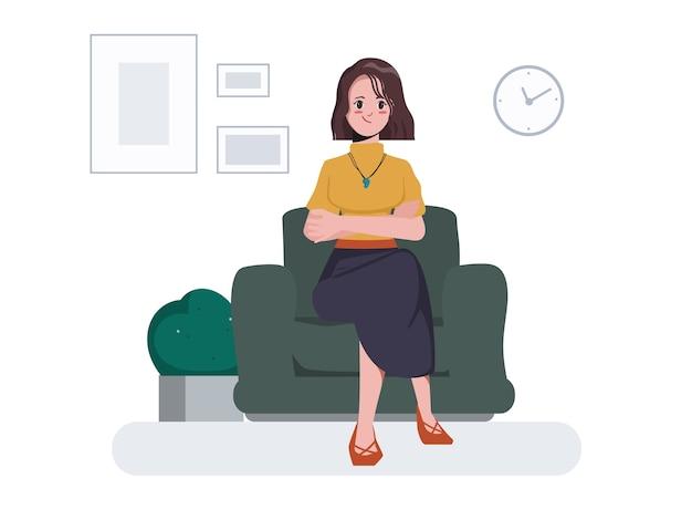 Jonge vrouwenzitting bij bankkarakter. platte cartoon ontwerp.