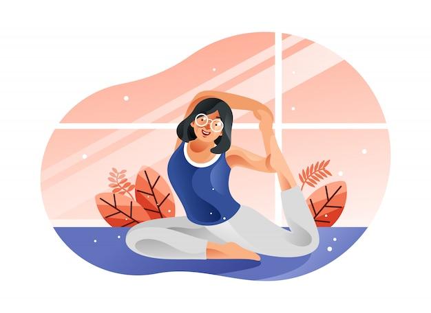 Jonge vrouwenzitting in yogahouding en meditatie