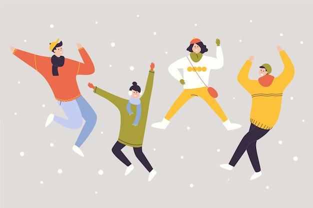 Jonge winter mensen springen pack