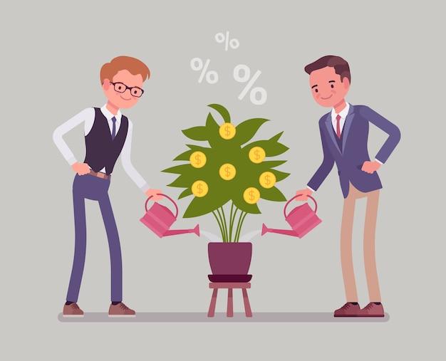 Jonge zakenlieden die met blikken een groene en gouden geldboom water geven
