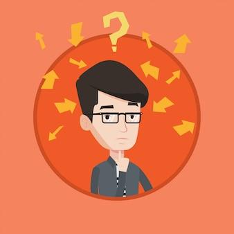 Jonge zakenman denken vectorillustratie.
