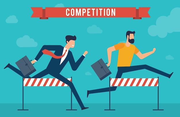 Jonge zakenman die met aktentas over het obstakel springt race naar succes platte ontwerpconcept voor het bereiken van doelen