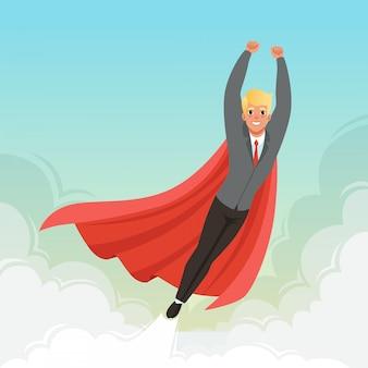 Jonge zakenman die met handen omhoog op blauwe hemel vliegt. loopbaanontwikkeling. cartoon man in pak, rode stropdas en superheld mantel. succesvolle kantoormedewerker.