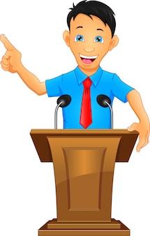 Jonge zakenman houdt een toespraak op het podium