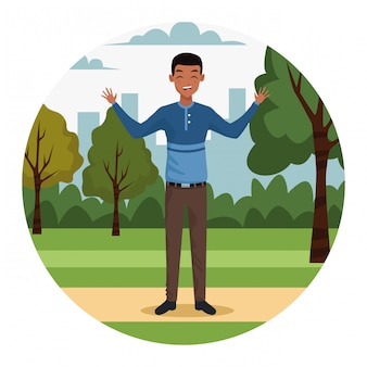 Jonge zakenman in het park