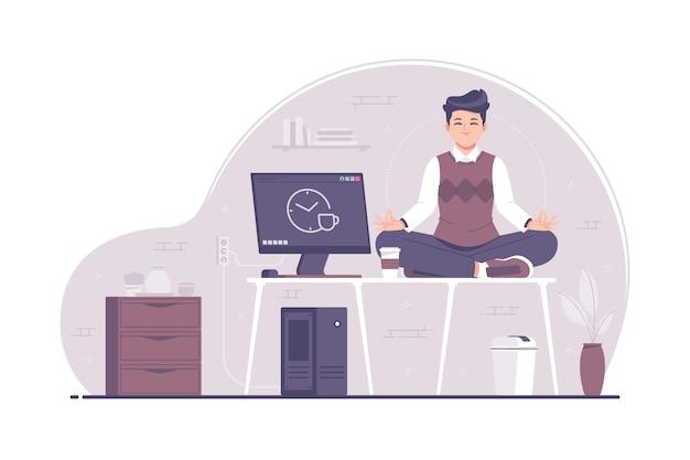 Jonge zakenman ontspannen in kantoor concept illustratie