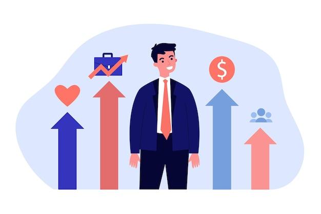 Jonge zakenman slaagt op alle gebieden van zijn leven. platte vectorillustratie. man staande in afbeelding die het persoonlijke, sociale, familie-, professionele leven vertegenwoordigt. welzijn, leven, succesconcept