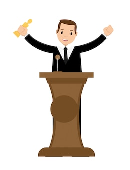 Jonge zakenman winnende prijs