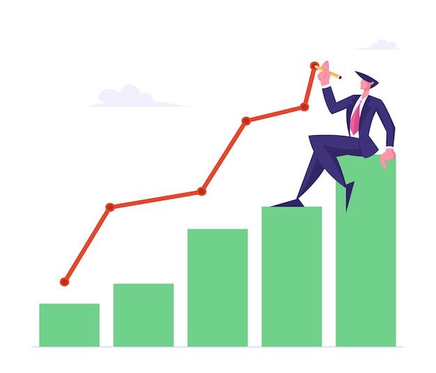 Jonge zakenman zit bovenop groeiende kolom vlakke afbeelding